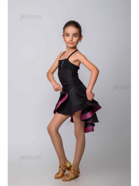 Костюм Латина: юбка с поясом из сетки, топ на бретелях