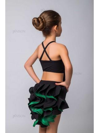 Костюм Латина: юбка с пышным хвостом, топ на бретелях