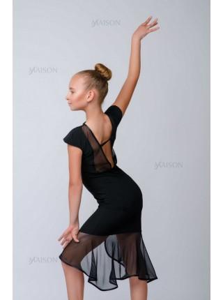 Платье Латина, укороченная юбка каскадом от бедра