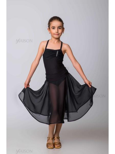 Тренировочная полупрозрачная юбка Латина, с трусиками, край обработан бейкой