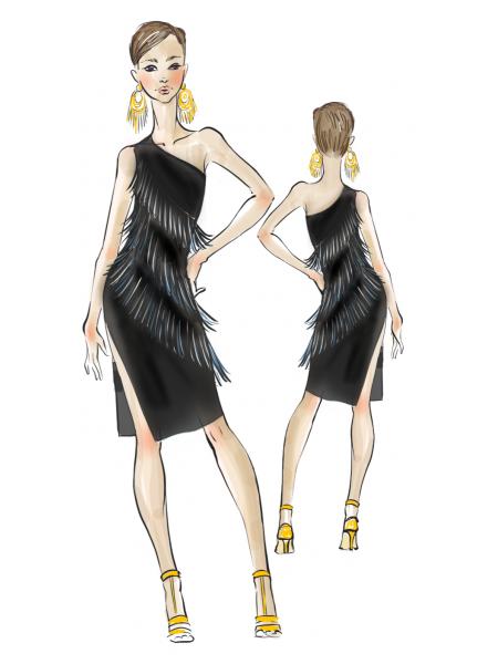 Платье Латина на одно плечо, с бахромой